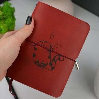 Красный кожаный блокнот, женский блокнот, именной подарок, подарок для девушки Блокнот с гравировкой