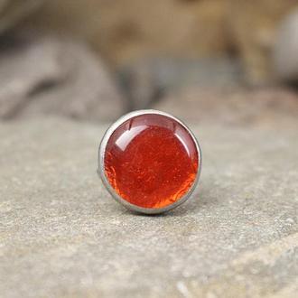 Кольцо из стали с ярким красным стеклом Подарок девушке