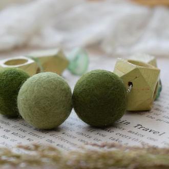 Бусы бусы бусы из дерева и шерсти стильный аксессуар зеленый