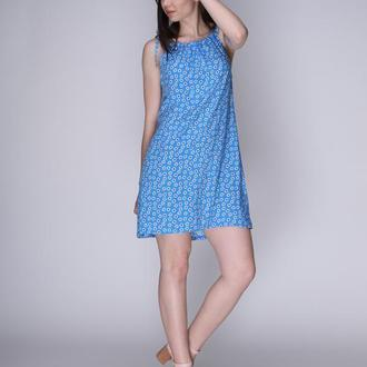 Платье на завязках голубое в цветы