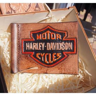 Кожаный зажим Harley Davidson (под заказ)