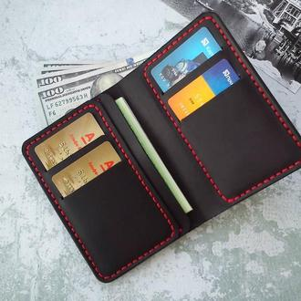 Вертикальный мужской кошелек для денег и автодокументов из натуральной кожи