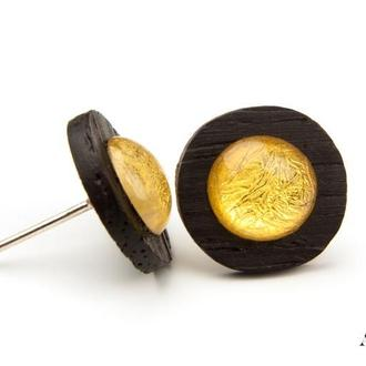 Янтарные серьги на дереве Зерикотте с сусальным золотом, серебряная фурнитура