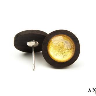 Янтарные серьги на дереве Зерикотте, с серебряными застежками,и сусальным золотом!!!