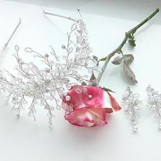 Диадема свадебная, корона, тиара, ободок, серьги, украшения для прически