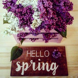 "Табличка с надписью ""Hello spring"""