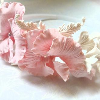 Ободок с цветами Зефир Обруч с цвета си