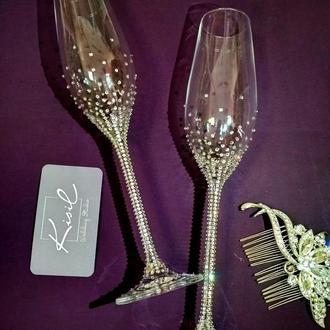 Розкішна пара весільних бокалів із кристалами Swarovski