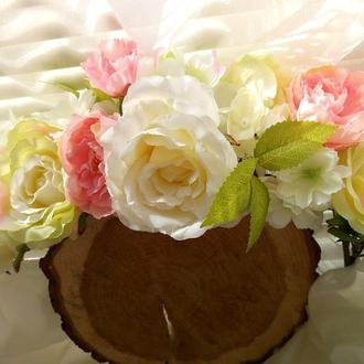 Венок на голову с розами Веночек из цветов пионов Белый веночек Объемный венок с розами и пионами