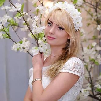 Белый веночек Свадебный белый веночек Веночек для девочки Венок с цветами Киев Обруч с цветами