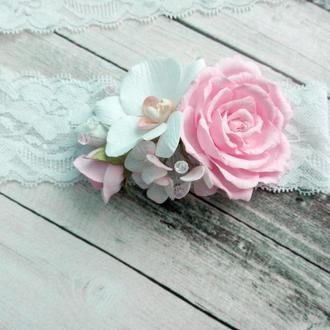 Повязка с цветами из фоамирана