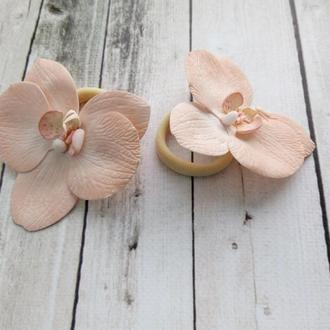 резиночки- орхидеи для волос из фоамирана ручной работы