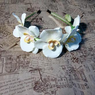 обруч для волос с орхидеями из фоамирана