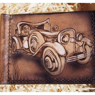 Кожаный зажим Ретро авто (под заказ)