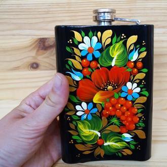 Фляга с ручной росписью, Петриковская роспись, цветы