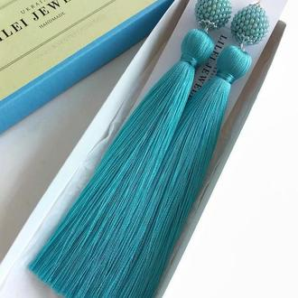 Бирюзовые серьги-кисти, длинные шелковые сережки-кисточки LILEI JEWELRY