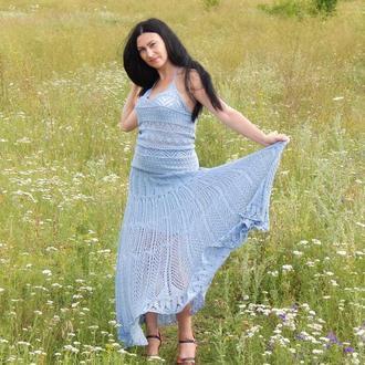 Замечательная вязаная на спицах юбка в пол из 100% хлопка