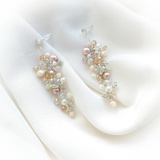 Серьги, свадебные серьги, сережки