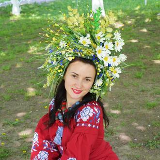 Квітовий польовий віночок з ромашками український пишний великий вінок
