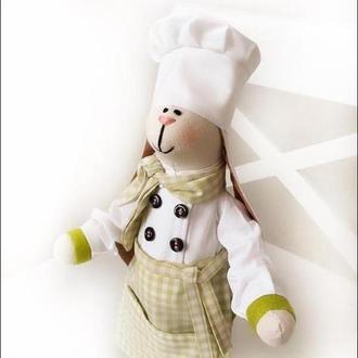 Повар тильда на кухне заяц игрушка пекарь подарок