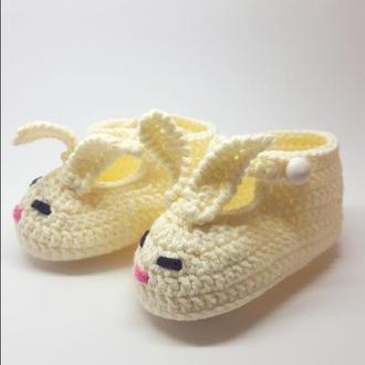 Пинетки-зайчики, молочного цвета