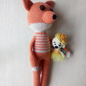 Игрушка вязаная Лис. Вязаная крючком игрушка Лис с Мишкой. Длинноногий Лисенок. Мини медведь.