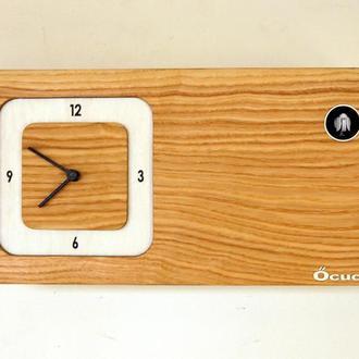 Часы с кукушкой,отделка шпон  радиальный ясень