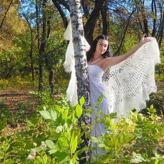 """Великолепная шаль """"Белый танец"""" выполнена из королевского кид-мохера по авторским схемам мастера"""