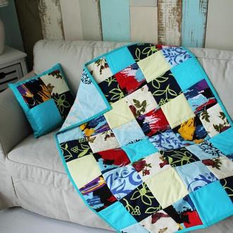 "Покрывало-одеяло  детское"" Бирюза"" +подушка"