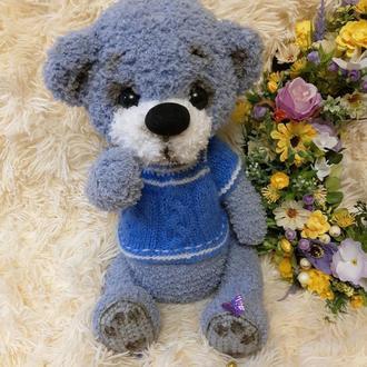 Мягкая игрушка вязаный мишка іграшка ведмедик