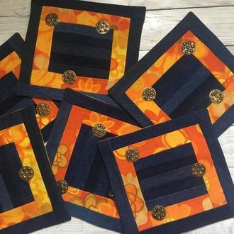 Набор джинсовых салфеток под горячии тарелки