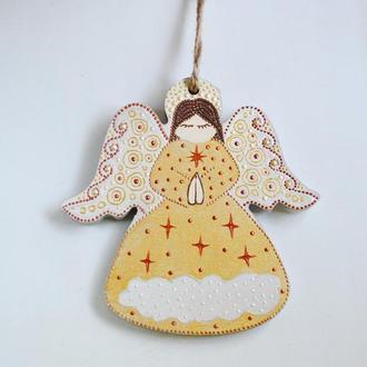 Новогодняя игрушка Ангел / Золото  / ялинкова прикраса / елочное украшение
