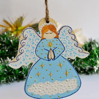 Новогодняя игрушка Ангел / Голубой / ялинкова прикраса / елочное украшение