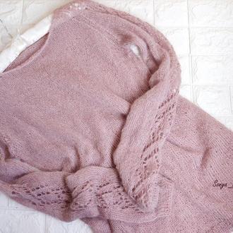"""Поделиться:  Шикарный свитер """"пудра"""" с ажурными рукавами. премиум качество"""