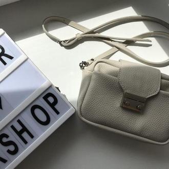 Стильная белая сумка через плечо  (натуральная кожа)