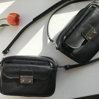Стильная черная сумка через плечо  (натуральная кожа)