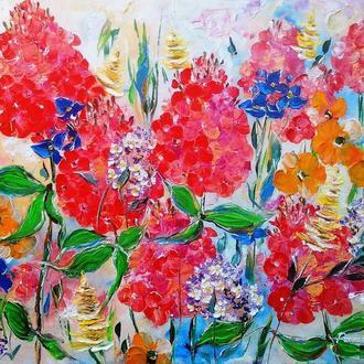 Картина маслом. Флоксы и компания.  50х60 см. Холст на подрамнике .Картина с цветами.
