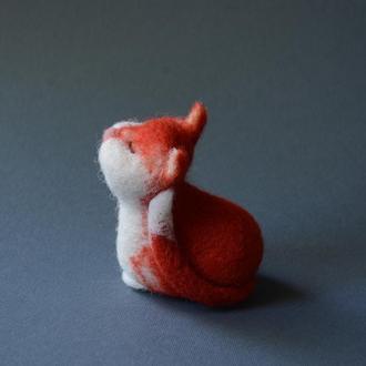 Рыжий кот валяная игрушка