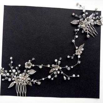 Свадебное украшение для волос, веточка в прическу, гребень, веточка для прически