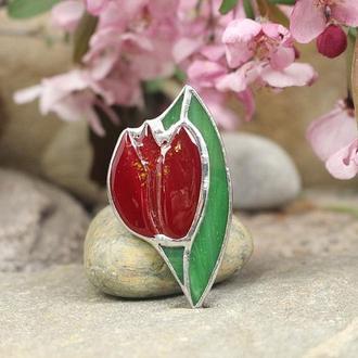 Брошь тиффани красный тюльпан