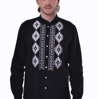 Мужская вышитая рубашка «Решение» черная