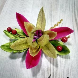 Заколка Зимний цветок