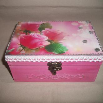 """Деревянная розовая шкатулка """"Грезы"""""""