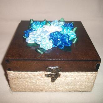 """Шкатулка """"Синие цветы"""""""