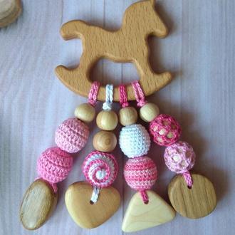 Деревянный грызунок прорезыватель вязаная игрушка ручная работа подарок новорожденному малышу слинго