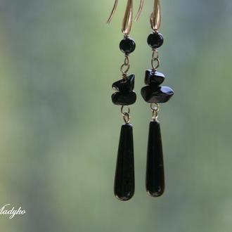 """""""Black Onyx Drop"""" серебряные серьги с ониксом, длинные серебряные серьги"""
