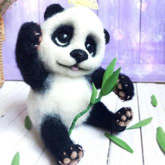Валяная игрушка, милая панда. Сухое валяние.