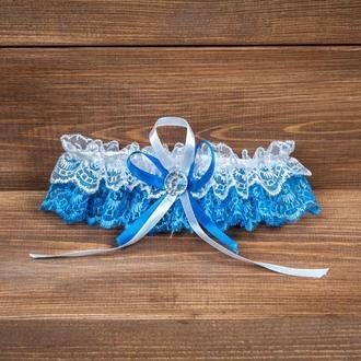Подвязка на ногу невесты синяя
