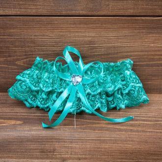 Свадебная подвязка бирюзовая