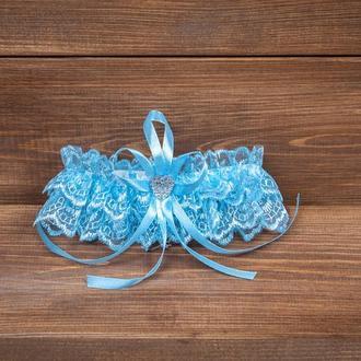 Свадебная подвязка невесты голубая